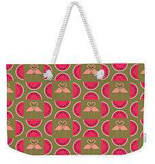 Watermelon Flamingo Print Weekender Tote Bag by Susan Claire