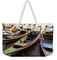 Watertaxis At The Yangon River Nan Thida Ferry Terminal Yangon Myanmar Weekender Tote Bag