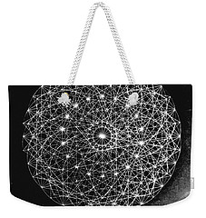 Weekender Tote Bag featuring the drawing Wave Particle Duality Black White by Jason Padgett