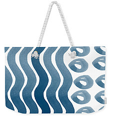 Waves And Pebbles- Abstract Watercolor In Indigo And White Weekender Tote Bag