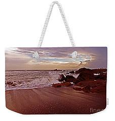 Waves Break Hands Shake Weekender Tote Bag by Lydia Holly