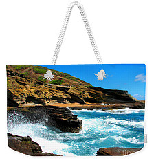 Weekender Tote Bag featuring the photograph Waves Crashing by Kristine Merc