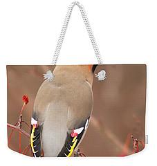 Waxwing In Winter Weekender Tote Bag