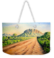 Weekender Tote Bag featuring the painting Way To Maralal by Anthony Mwangi