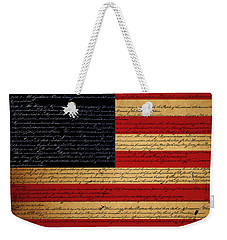 We The People - The Us Constitution With Flag - Square Weekender Tote Bag