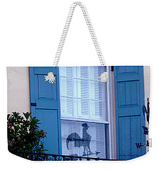 Weekender Tote Bag featuring the photograph Charleston Weathervane Reflection by Kathy Barney