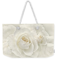 Wedding Day White Roses Weekender Tote Bag by Jennie Marie Schell