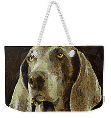 Weekender Tote Bag featuring the painting Weimaraner Dog by Dragica  Micki Fortuna