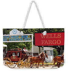 Weekender Tote Bag featuring the photograph Wells Fargo At Devon by Alice Gipson