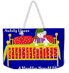 Weekender Tote Bag featuring the digital art Welsh Snowman Bedtime  by Barbara Moignard