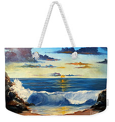 Weekender Tote Bag featuring the painting West Coast Sunset by Lee Piper