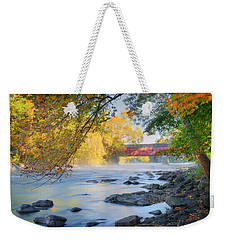 Weekender Tote Bag featuring the photograph West Cornwall Covered Bridge Autumn by Bill Wakeley