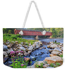 Weekender Tote Bag featuring the photograph West Cornwall Covered Bridge Summer by Bill Wakeley