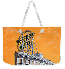 Western Auto Sign Artistic Sky Weekender Tote Bag
