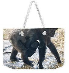 Western Lowland Gorilla With Baby Weekender Tote Bag by Chris Flees