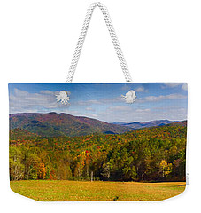 Western North Carolina Horses And Mountains Panorama Weekender Tote Bag