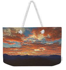 Weekender Tote Bag featuring the digital art Western Sunset by Mark Greenberg