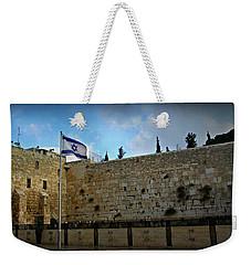 Western Wall And Israeli Flag Weekender Tote Bag
