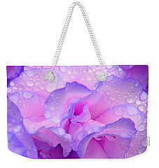 Wet Rose In Pink And Violet Weekender Tote Bag