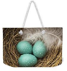 Wet Trio Of Robins Eggs Weekender Tote Bag