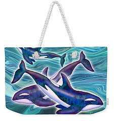 Weekender Tote Bag featuring the mixed media Whale Whimsey by Teresa Ascone