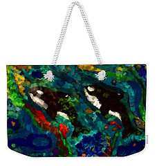 Whales At Sea - Orcas - Abstract Ink Painting Weekender Tote Bag