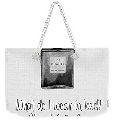 What Do I Wear In Bed? Black And White Weekender Tote Bag by Rebecca Jenkins