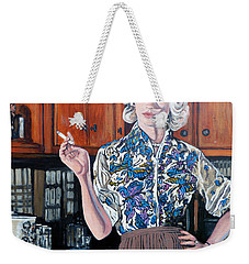 Weekender Tote Bag featuring the painting What's For Dinner? by Tom Roderick