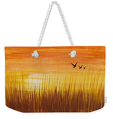 Wheatfield At Sunset Weekender Tote Bag by Darren Robinson