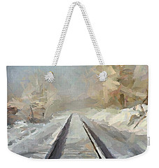 Weekender Tote Bag featuring the painting Where Is The Train by Dragica  Micki Fortuna