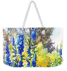 Weekender Tote Bag featuring the painting Where The Delphinium Blooms by Carol Wisniewski