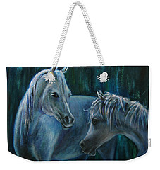 Weekender Tote Bag featuring the painting Whispering... by Xueling Zou