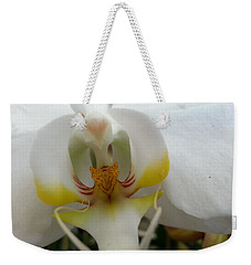 Weekender Tote Bag featuring the photograph White And Yellow Orchid by Caryl J Bohn