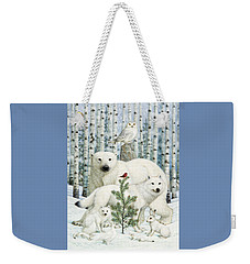 White Animals Red Bird Weekender Tote Bag