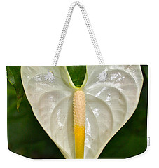 White Anthurium Heart Weekender Tote Bag by Venetia Featherstone-Witty