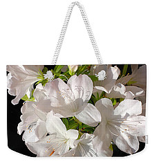 White Azalea Bouquet In Glass Vase Weekender Tote Bag by Connie Fox