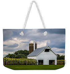 White Barn And Silo With Storm Clouds Weekender Tote Bag