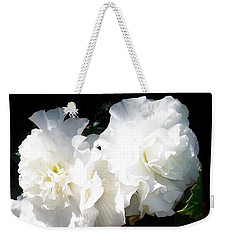 Weekender Tote Bag featuring the photograph White Begonia  by Sharon Duguay