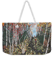 Weekender Tote Bag featuring the painting White Birch Trail Ride by Jeffrey Koss