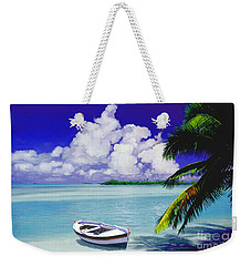 White Boat On A Tropical Island Weekender Tote Bag by David  Van Hulst