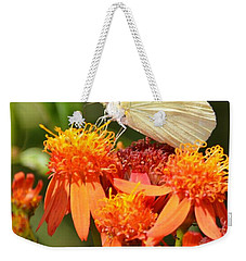 White Butterfly On Mexican Flame Weekender Tote Bag