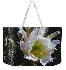 White Cactus Bloom Weekender Tote Bag