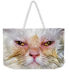 Scary White Cat Weekender Tote Bag