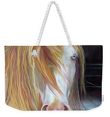 White Chocolate Stallion Weekender Tote Bag by Karen Kennedy Chatham