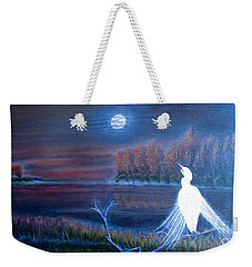 White Crane Dancing In The Light Of The Moon Weekender Tote Bag