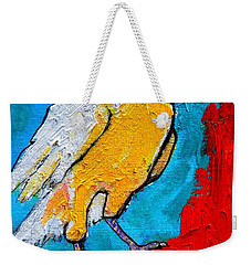 Weekender Tote Bag featuring the painting White Crow by Ana Maria Edulescu