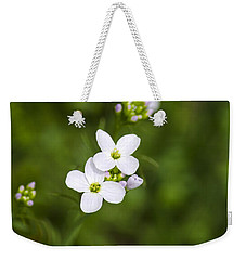 White Cuckoo Flowers Weekender Tote Bag by Christina Rollo