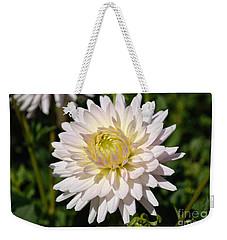 White Dahlia Flower Weekender Tote Bag