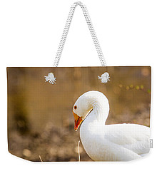 Weekender Tote Bag featuring the photograph White Duck by Eleanor Abramson