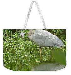 Weekender Tote Bag featuring the photograph White Egret Double  by Susan Garren
